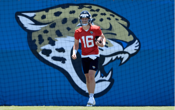 Trevor Lawrence, the top pick in the 2021 NFL Draft, at training camp.